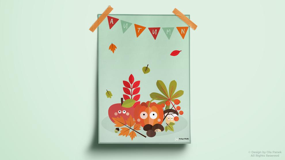 Jesienny plakat i metryczki
