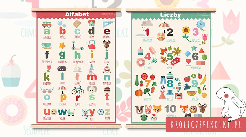 Plakat z alfabetem i liczbami do druku