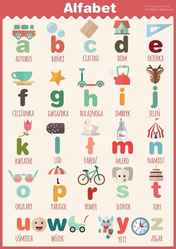 Plakat Z Alfabetem I Liczbami Do Druku Królicze Fikołki