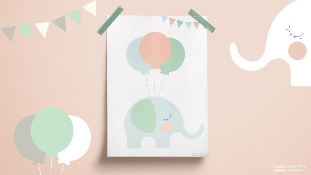Plakaty ze słonikiem do druku – 12 wersji kolorystycznych