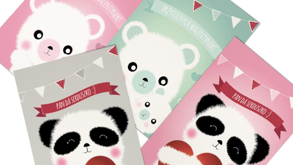 Słodkie walentynkowe kartki i plakaty z misiami