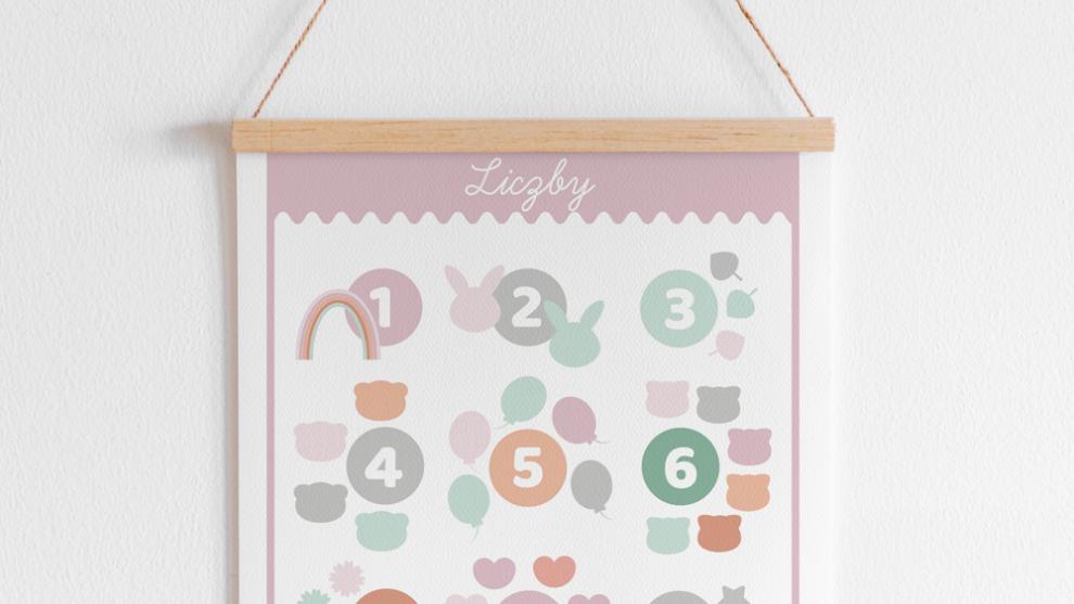Plakat z alfabetem i liczbami do druku – wersja pastelowa