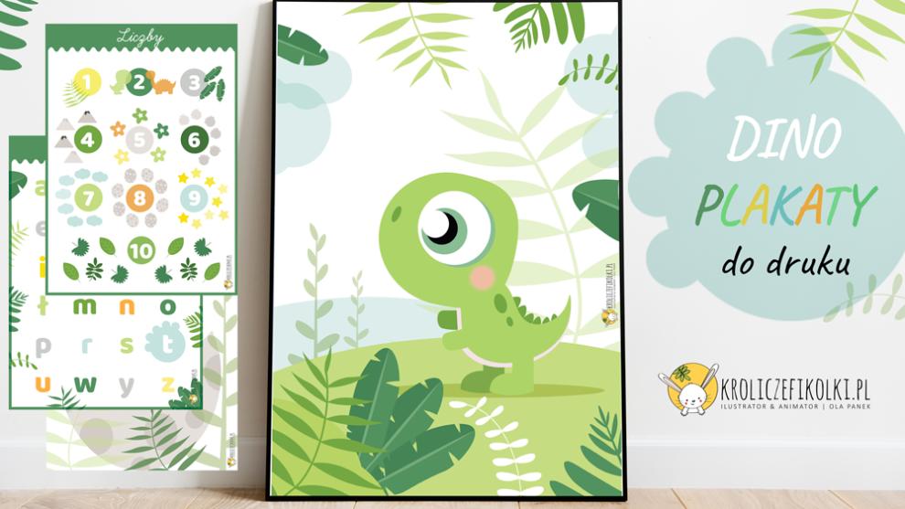 4 plakaty z dinozaurami do druku