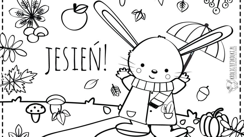 Jesienna kolorowanka z Królikiem Fikołkiem
